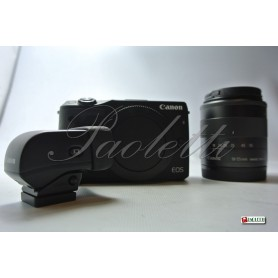 Canon Eos M3- EF-M 18-55mm 1:3.5-5.6 IS STM - EVF-DC1  (Black) Usato
