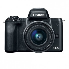 Canon Eos M50 ( Black / White)   + EF-M 15-45mm  IS STM ( Black) + Borsa Canon + Scheda da 16 GB
